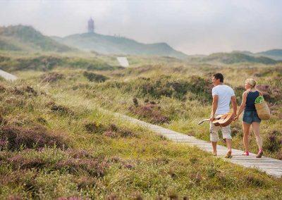 Spazieren auf Amrum. Ein Bohlenweg führt durch die Dünen, im Hintergrund ist das Quermarkenfeuer zu sehen.