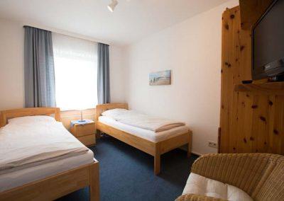Das Schlafzimmer von Wohnung 3 im Nordlicht Amrum